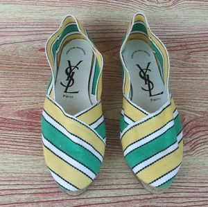 YSL Vintage Striped Yellow Green Espadrilles 7